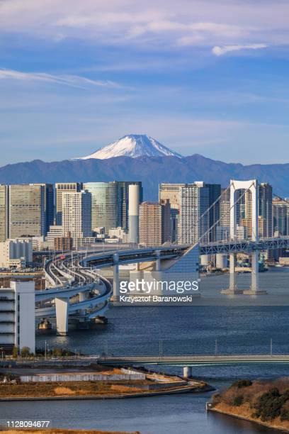 tokyo cityscape with mt. fuji - hoofdstad stockfoto's en -beelden