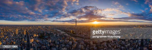 tokyo cityscape with tokyo sky tree visible in tokyo city, japan on sunrise. - tokyo japan stock pictures, royalty-free photos & images
