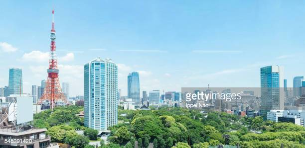 tokyo cityscape with tokyo tower with clear blue sky - kanto region stock pictures, royalty-free photos & images