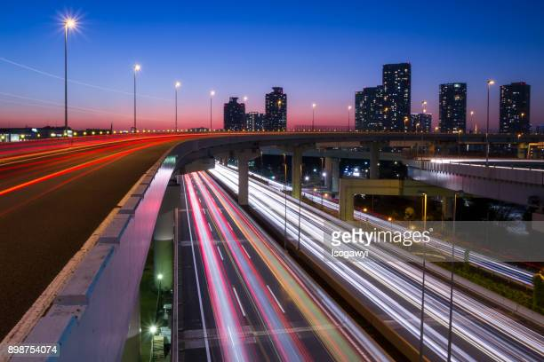 tokyo coastal road at twilight - isogawyi stock pictures, royalty-free photos & images