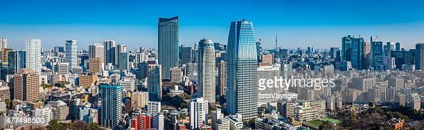 Tokyo crowded downtown skyscrapers futuristic citycsape panorama Minato Japan