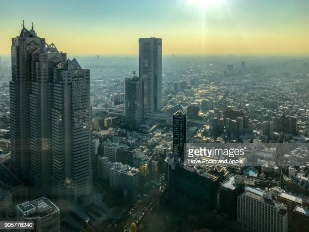tokyo december afternoon - nishi shinjuku stock-fotos und bilder