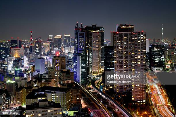 tokyo downtown at night - nagoya stock pictures, royalty-free photos & images