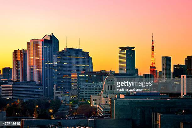 Tokyo Downtown cityscape at sunrise