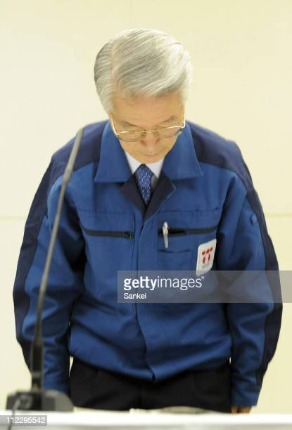 Tokyo Electric Power Co chairman Tsunehisa Katsumata bows for apology during a press conference at their headquarters on April 17 2011 in Tokyo Japan...