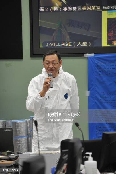 Tokyo Electric Power Co Fukushima Daiichi Nuclear Power Plant chief Masao Yoshida speaks to staffs on November 12 2011 in Okuma Fukushima Japan...