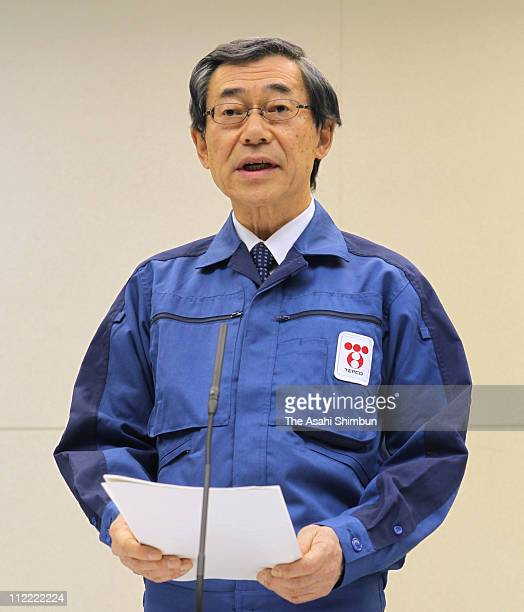 Tokyo Electric Power Co., President Masataka Shimizu speaks during a press conference to announce that TEPCO will pay one million Japanese yen to...