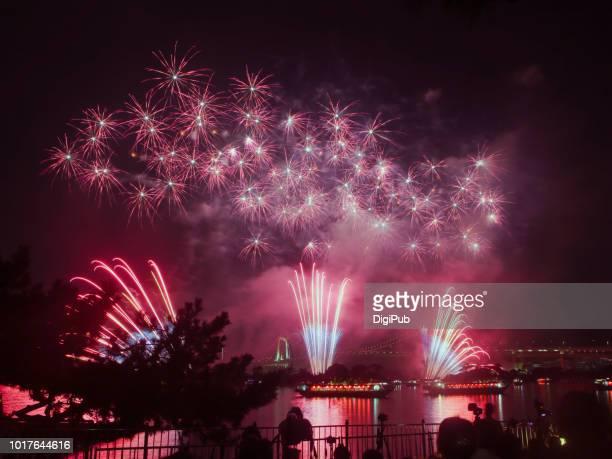 """tokyo fireworks festival: """"edomode"""" 1st - first occurrence stock-fotos und bilder"""