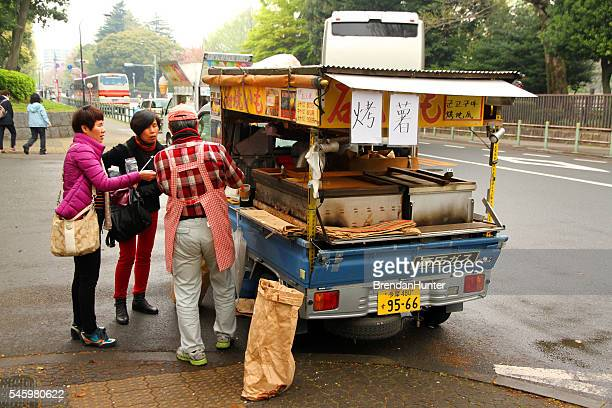 tokyo food truck - ueno park stock photos and pictures