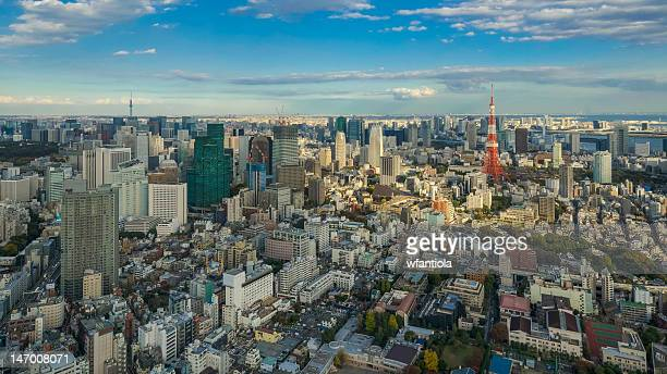 tokyo from mori tower - roppongi hills stock pictures, royalty-free photos & images