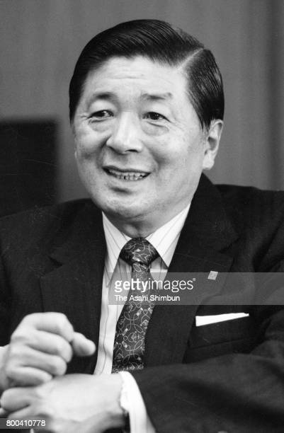 Tokyo Gas President Kunio Anzai speaks during the Asahi Shimbun interview at the company headquarters on December 26 1995 in Tokyo Japan