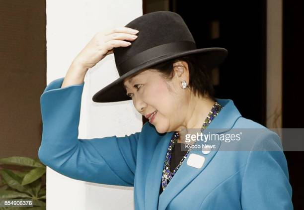 Tokyo Gov Yuriko Koike leaves her home in Tokyo on Sept 28 when the House of Representatives will be dissolved for a general election Koike has...