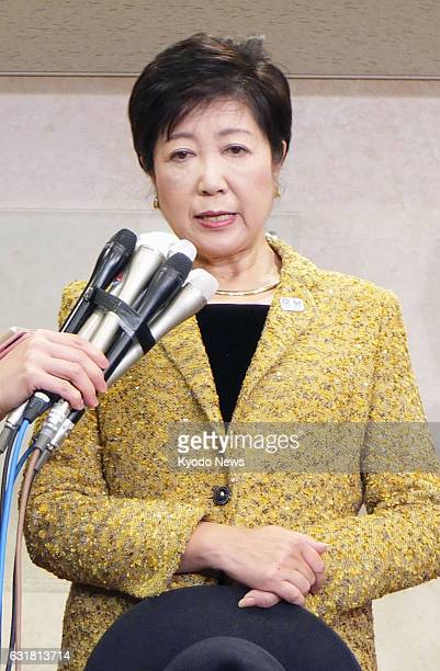 Tokyo Gov Yuriko Koike meets with reporters in Tokyo on Jan 14 following the revelation that benzene at 79 times the governmentset allowable limit...