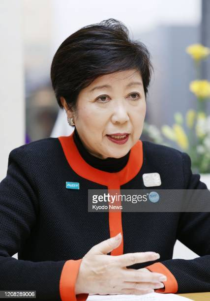 Tokyo Gov Yuriko Koike speaks during an interview in Tokyo on March 26 two days after Japanese Prime Minister Shinzo Abe and International Olympic...
