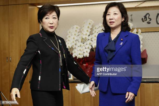 Tokyo Governor and head of the Party of Hope Yuriko Koike meets with Japan's Internal Affairs and Communications Minister Seiko Noda in Tokyo on...