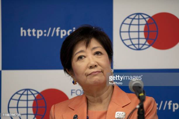 Tokyo Governor Yuriko Koike attends a press conference a briefing on preparations for the 2020 Olympics and Paralympics in Tokyo July 18 2019