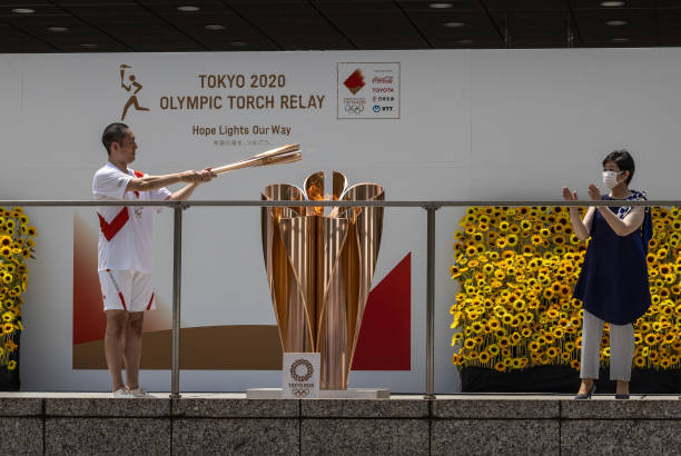 JPN: Arrival Ceremony For Olympic Torch Relay In Tokyo