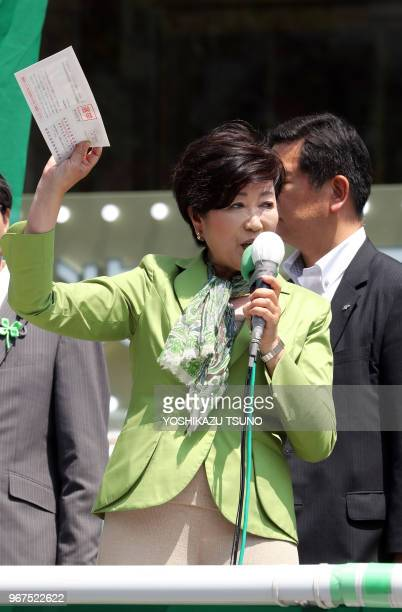 Tokyo Governor Yuriko Koike delivers a campaign speech for her party 'Tomin First no Kai' candidate for the upcoming Tokyo Metropolitan Assembly...