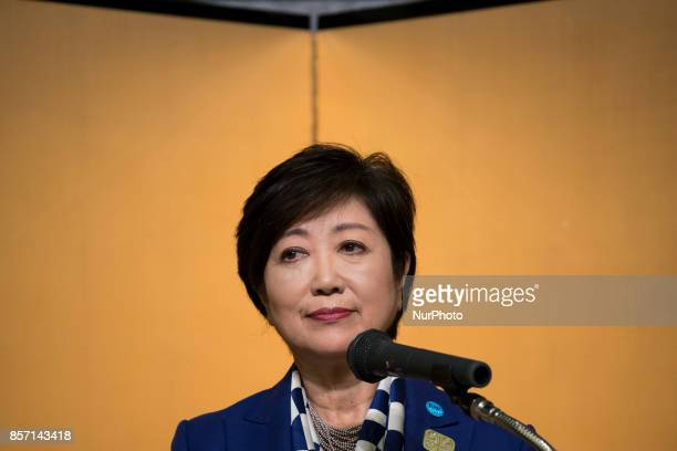 Tokyo Governor Yuriko Koike delivers her speech during the Project Review meeting between the International Olympic Committee and the Tokyo...