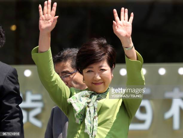 Tokyo Governor Yuriko Koike reacts to audience after she delivered a campaign speech for her party 'Tomin First no Kai' candidate for the upcoming...