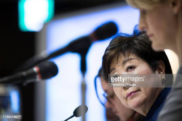 Tokyo Governor Yuriko Koike speaks during a press conference at the Foreign Correspondents' Club of Japan on February 18 2019 in Tokyo Japan She...