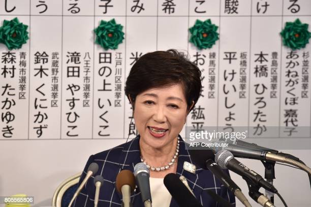 Tokyo Governor Yuriko Koike who currently is the leader of the newlyformed Tomin First no Kai party speaks during a television interview in Tokyo on...