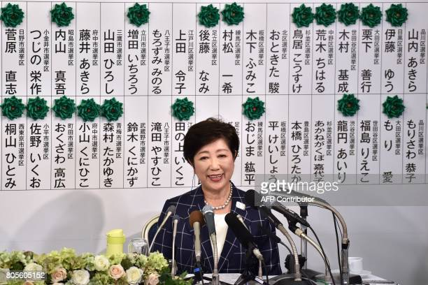 Tokyo Governor Yuriko Koike who currently is the leader of the newlyformed Tomin First no Kai party speaks during a press conference in Tokyo on July...