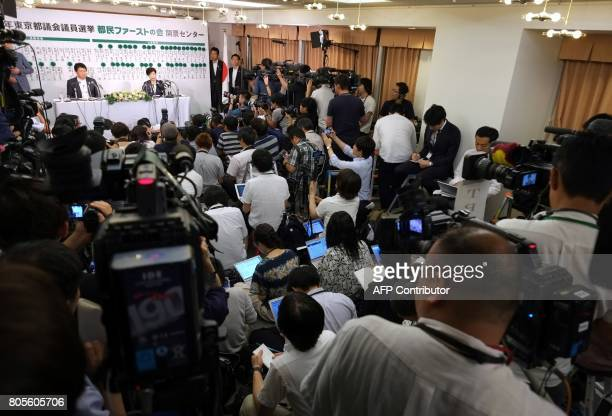 Tokyo Governor Yuriko Koike who currently is the leader of the newlyformed Tomin First no Kai party holds a press conference in Tokyo on July 2 after...