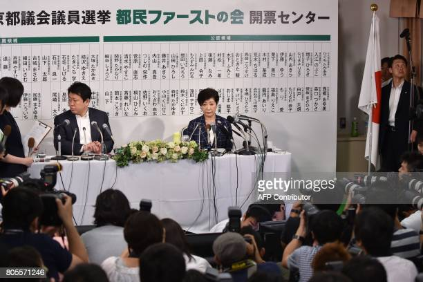 Tokyo Governor Yuriko Koike who is the leader of the newlyformed Tomin First no Kai party is interviewed in Tokyo on July 2 2017 after the Tokyo...