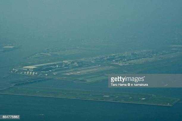 Tokyo Haneda International Airport daytime aerial view from airplane