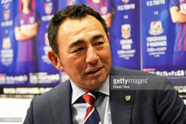 Tokyo head coach Kenta Hasegawa looks on during the J.League Kick Off Conference on February 14, 2020 in Tokyo, Japan.
