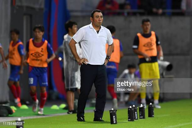 Tokyo head coach Kenta Hasegawa looks on during the J.League Levain Cup quarter final second leg match between FC Tokyo and Gamba Osaka at NACK 5...