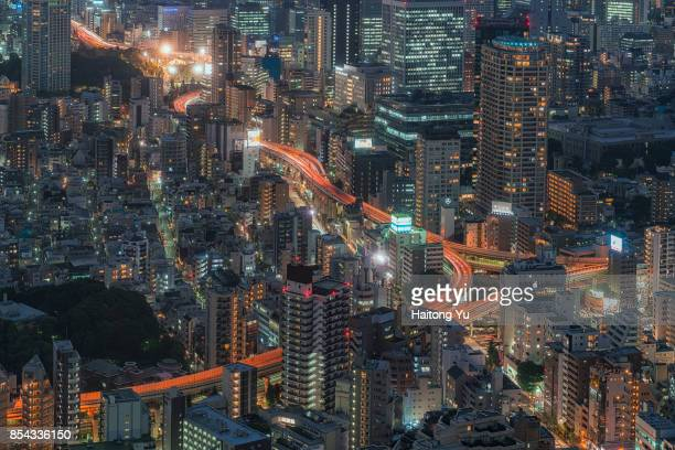 Tokyo. High angle view of densely packed city scape