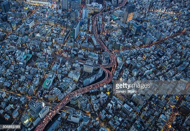 Tokyo Highways aerial view at night