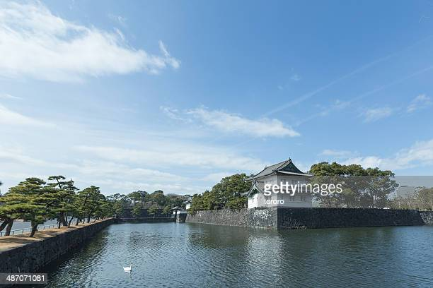 Tokyo imperial palace with moat at daytime