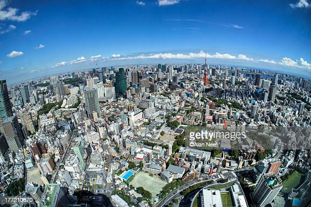 tokyo in fish-eye - nee nee stock pictures, royalty-free photos & images