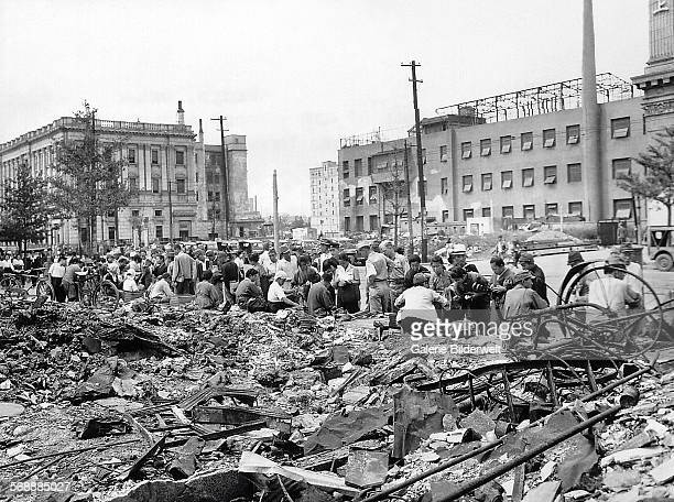 Tokyo in ruins October 1945 A black market in the street Strategic bombing and urban area bombing began in 1944 after the longrange B29 Superfortress...