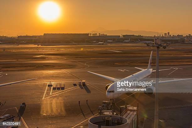 Tokyo International Airport at sunset