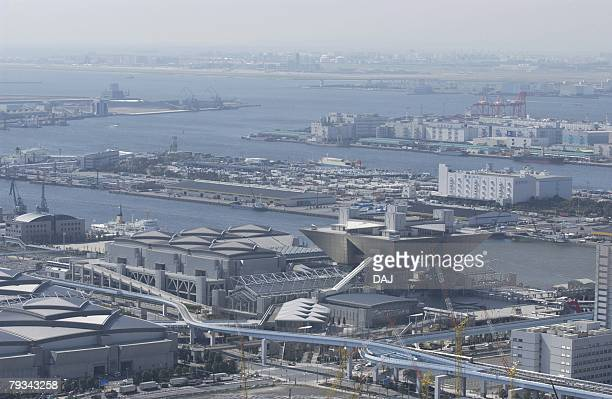 tokyo international exhibition hall, aerial view, pan focus - tokyo big sight stock photos and pictures