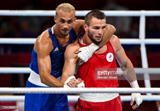 Tokyo , Japan - 1 August 2021; Ben Whittaker of Great Britain, left, and Imam Khataev of Russian Olympic Committee after their men's light...
