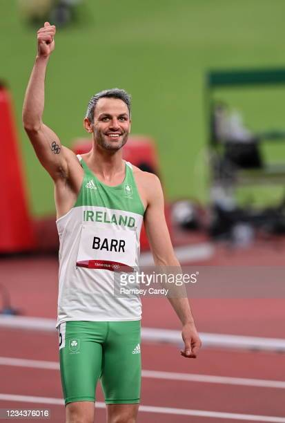 Tokyo , Japan - 1 August 2021; Thomas Barr of Ireland before his semifinal of the men's 400 metres hurdles at the Olympic Stadium on day nine of the...