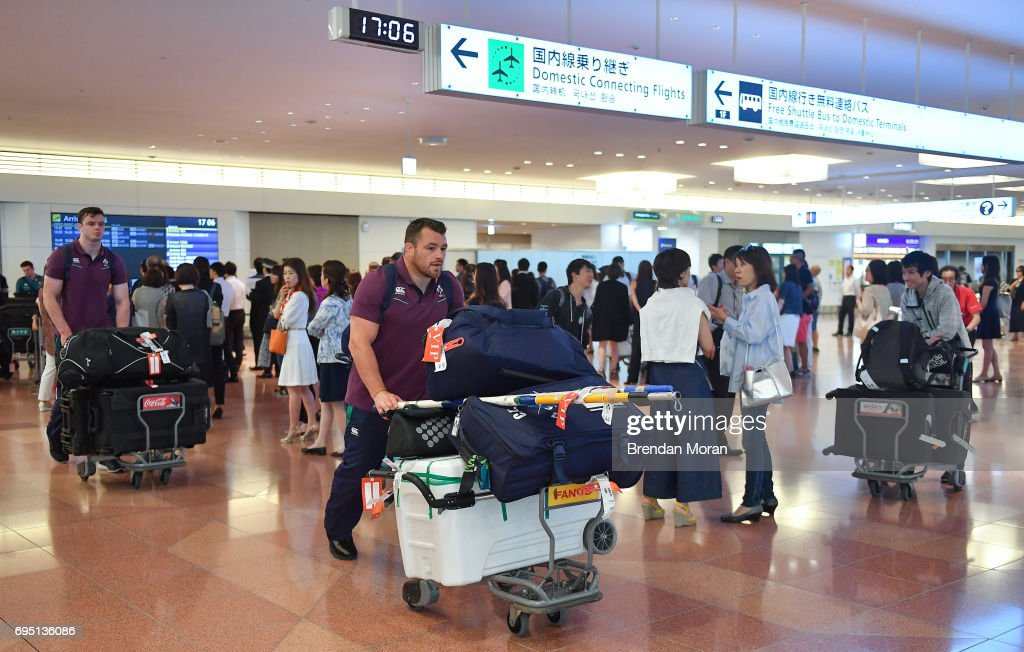 Tokyo , Japan - 12 June 2017; Cian Healy of Ireland on arrival into Haneda Airport in Tokyo, Japan, ahead of their 2 test matches against Japan.