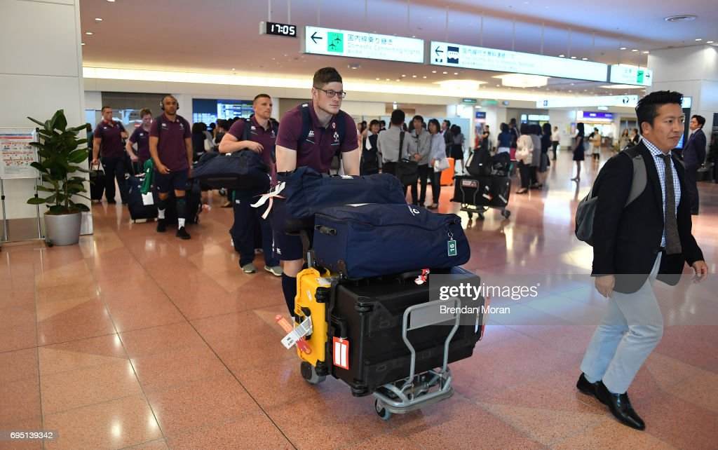 Tokyo , Japan - 12 June 2017; Jack O'Donoghue of Ireland, followed by team-mates Andrew Conway and Simon Zebo, on arrival at Haneda Airport in Tokyo, Japan, ahead of their 2 test matches against Japan.