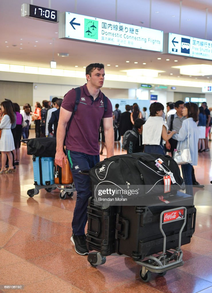 Tokyo , Japan - 12 June 2017; James Ryan of Ireland on arrival into Haneda Airport in Tokyo, Japan, ahead of their 2 test matches against Japan.
