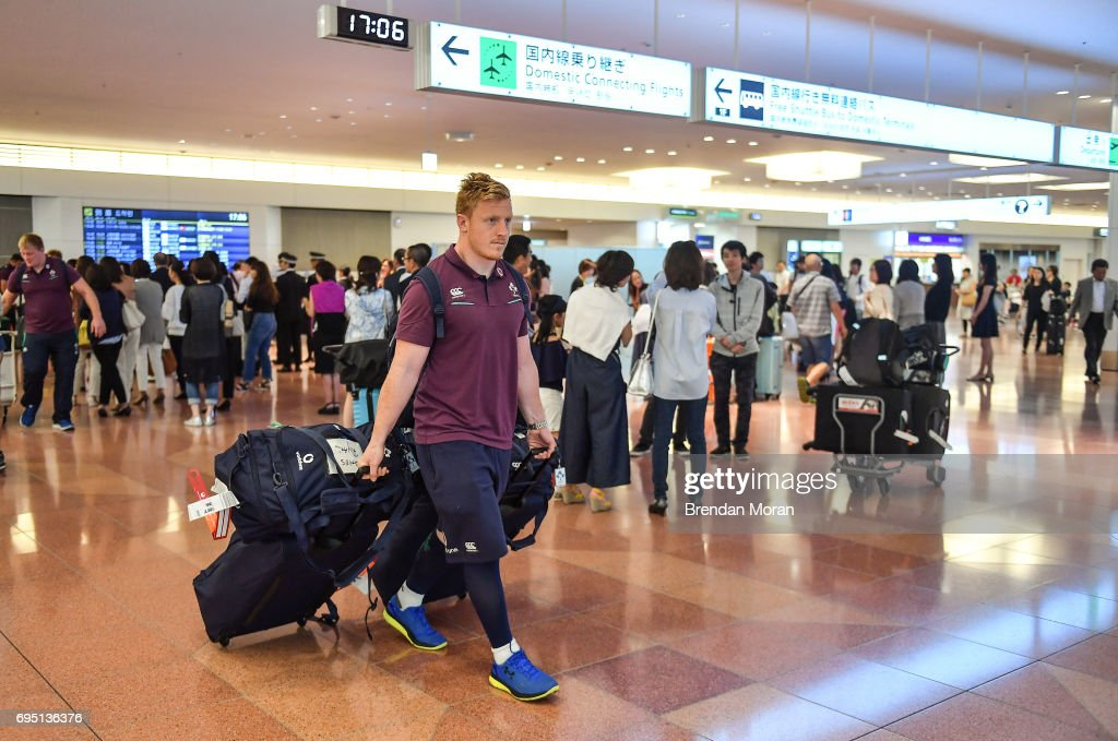 Tokyo , Japan - 12 June 2017; James Tracy of Ireland on arrival into Haneda Airport in Tokyo, Japan, ahead of their 2 test matches against Japan.