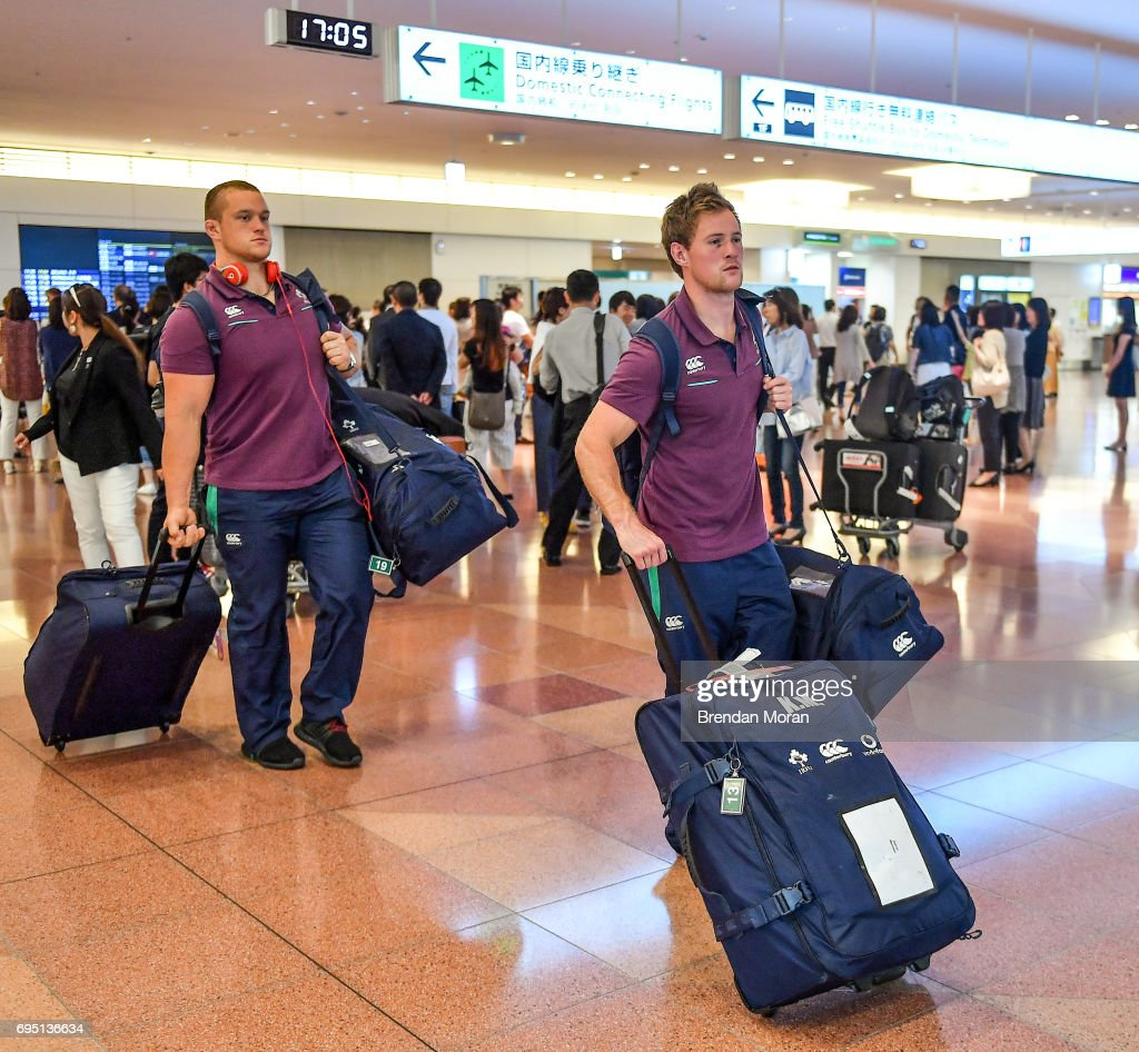 Tokyo , Japan - 12 June 2017; Kieron Marmion of Ireland, right, and Andrew Porter, on arrival into Haneda Airport in Tokyo, Japan, ahead of their 2 test matches against Japan.