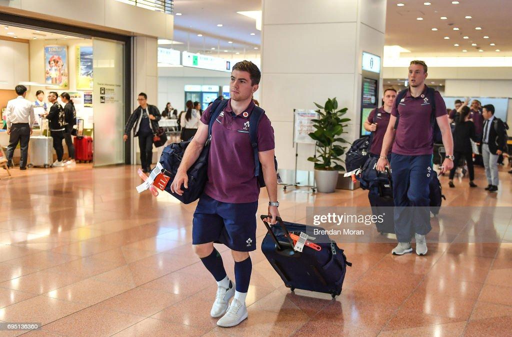 Tokyo , Japan - 12 June 2017; Luke McGrath of Ireland on arrival into Haneda Airport in Tokyo, Japan, ahead of their 2 test matches against Japan.