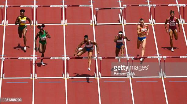 Tokyo , Japan - 2 August 2021; Jasmine Camacho-Quinn of Puerto Rico on her way to winning the women's 100 metre hurdles final at the Olympic Stadium...