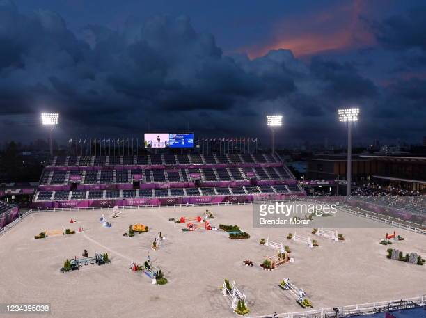 Tokyo , Japan - 2 August 2021; Julia Krajewski of Germany riding Amande de B'Neville during the eventing jumping team final and individual qualifier...