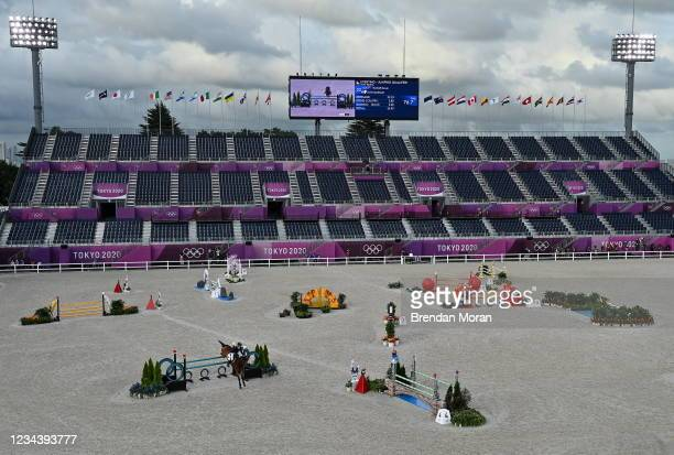 Tokyo , Japan - 2 August 2021; Kevin McNab of Australia riding Don Quidam during the eventing jumping team final and individual qualifier at the...